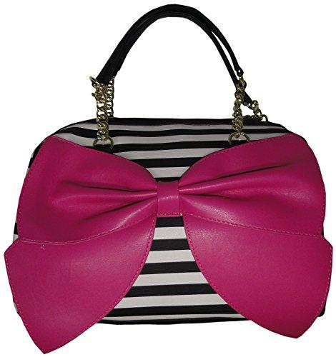 Betsey Johnson Satchel Bow Regard Stripe Handbag Satchel Doctor Bag