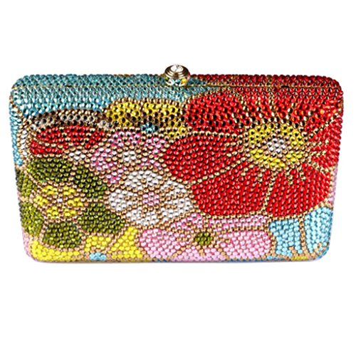 Abless Luxury Abstract Blooming Flower Rhinestone Handmade Shoulder Evening Bag