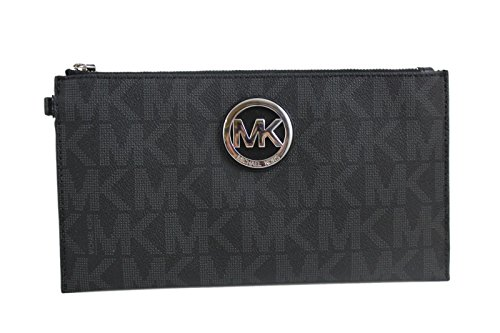 Michael Kors Signature Fulton Large PVC Top Zip Clutch & Wristlet – Black