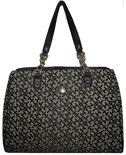 Tommy Hilfiger Gold Chain Satchel Hand Bag Canvas Chocolate