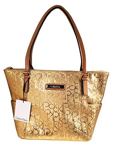 CALVIN KLEIN Gold CK LOGO Shoulder Tote Handbag