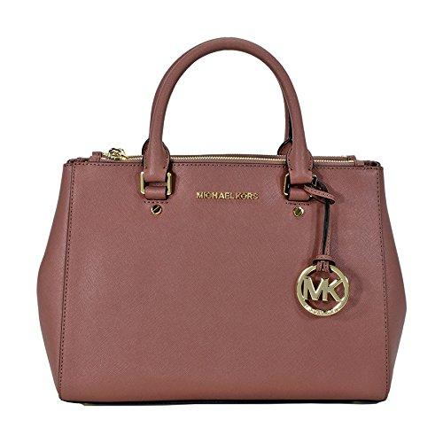 Michael Kors Sutton Leather Medium Satchel Handbag – Dusty Rose