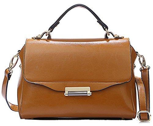 Heshe® Genuine Leather Lux Waxy Tote Top Handle Shoulder Bag Cross Body Handbag Messenger Purse For Ladies