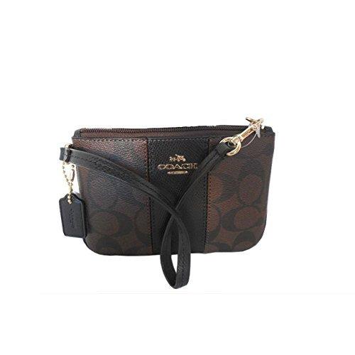 Coach Signature C Brown Black PVC Leather Wristlet, 52860