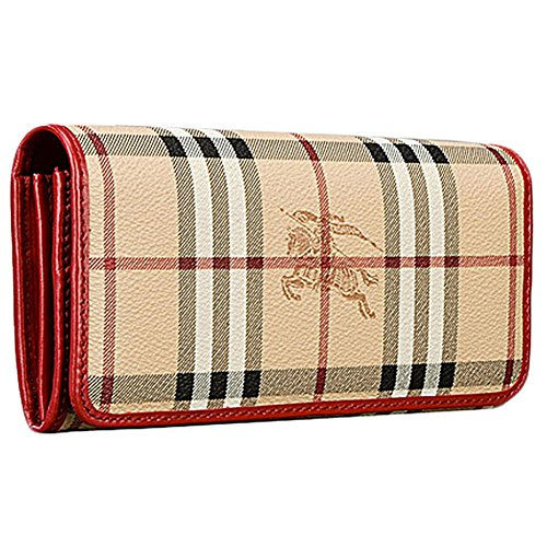 Burberry Haymarket Colours Penrose Continental Clutch Coin Purse Wallet Military – Red