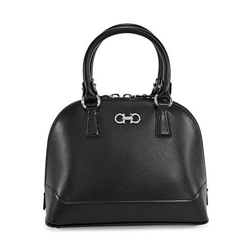 Ferragamo Darine Leather Satchel Handbag – Black