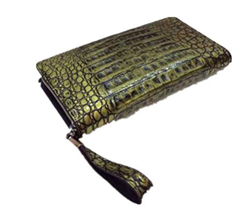 Topleatherware Unisex Fashion Clutch Long Purse Crocodile Belly Leather Wallet Gold