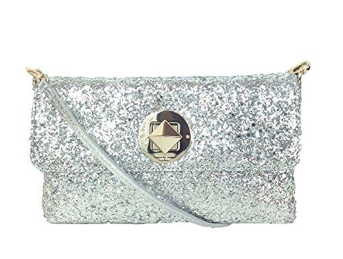Kate Spade New York Sparkler Missy Glitter Evening Bag, Silver