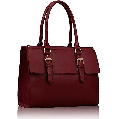Womens Burgundy Red Doctors Handbag Style Satchel Bag Double Buckles Bag