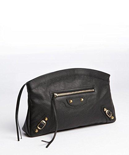 Balenciaga Black Leather Giant 12 Rose Golden Premier Clutch Bag Authentic New Mirror Dustbag