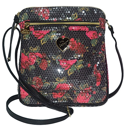 Betsey Johnson Women's Nylon Mush Crossbody/Xbody Handbag, Black/Sequinned Floral