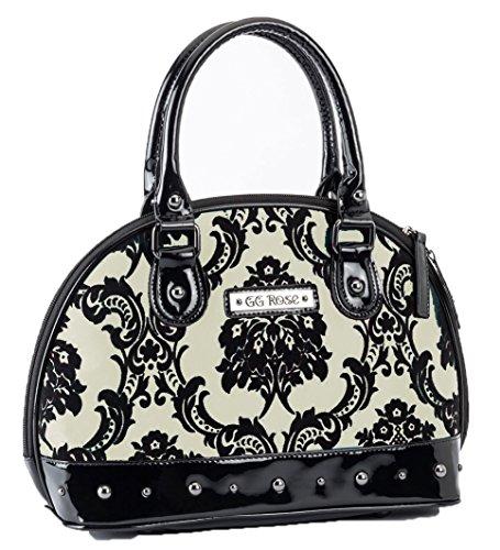 Rock Rebel GG Rose Damask Mini Madame Moon Ivory & Black Glam Handbag Purse