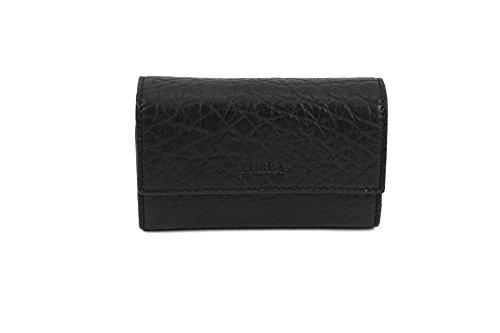 Furla Pirite Leather Card Holder in Black Onyx