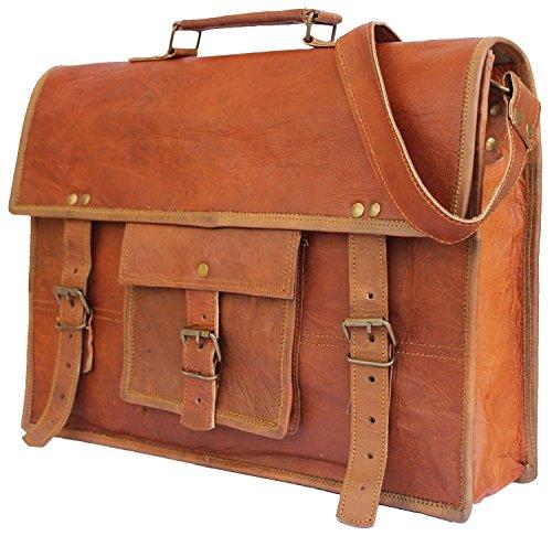 "Scotchleather 15"" Adult Unisex Cross Shoulder Genuine Leather Laptop Briefcase Messenger Bag Satchel Brown"