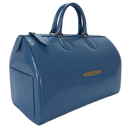 Pierre Cardin 4066 BLU Made in Italy Blue Leather Large Speedy/Bowling Bag