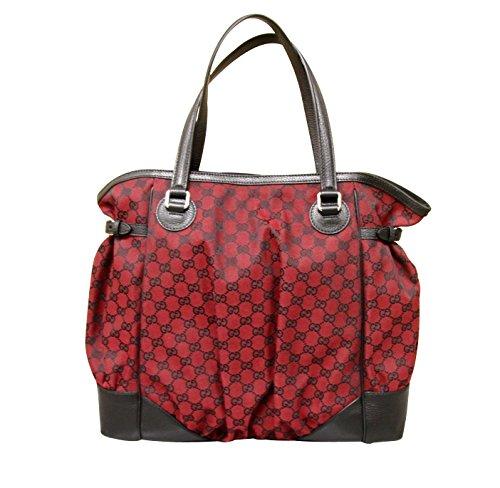 Gucci Red Canvas Large Full Moon Tote Bag Handbag Purse 257290 8304