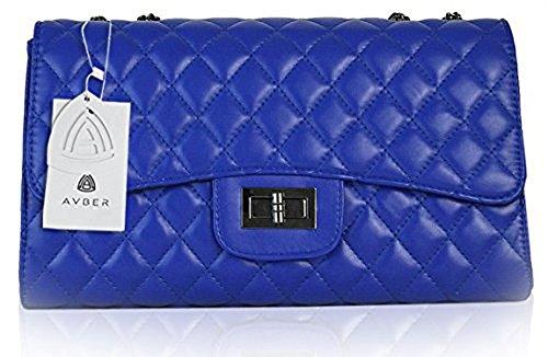 Avber Quilted Crossbody Handbag Womens Handbags with Metal Chain Strap Blue
