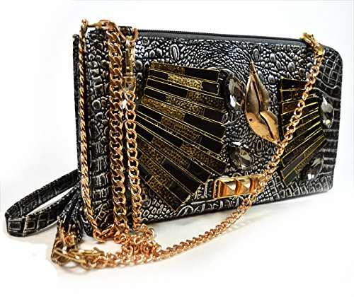 Authentic Arcadia Handmade Metallic Evening Bag with Metal Lips Pyramid Studs and Triple Option Adjustable Chain Shoulder Straps: ZH3014-PR