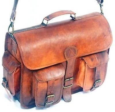Handolederco 15″ Vintage Leather Messenger Soft Leather Briefcase Satchel Leather Laptop Messenger Bag for Men and Women