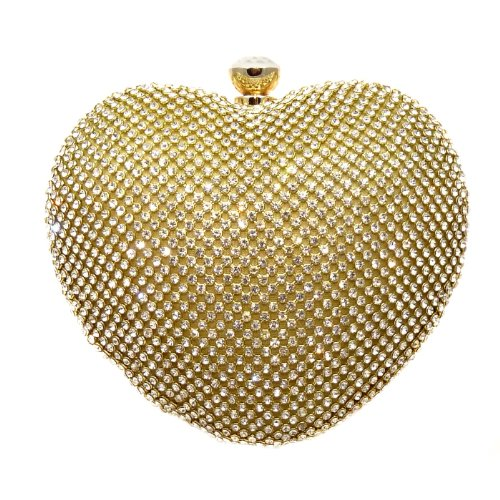 Heart Crystal Pave Hard Case Evening Clutch Handbag Purse for Women with Detachable Chains