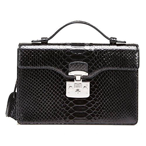Gucci Lady Lock Black Python Leather Top Handle Bag 331823 LCA0F