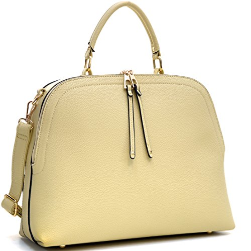 Dasein Faux Leather Dome Satchel Handbag, Tablet, iPad Bag