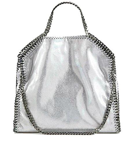 Stella McCartney 3 Chain Falabella Shaggy Deer Foldover Faux Leather Shoulder Convertible Clutch Handbag