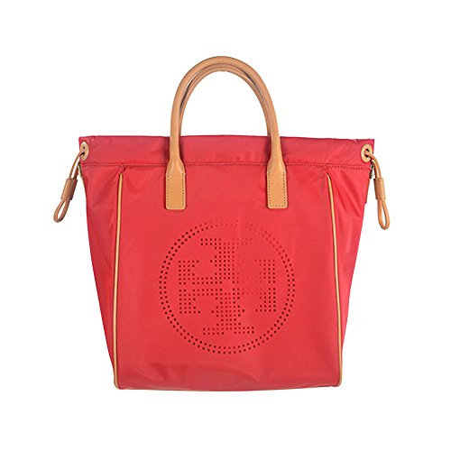 Tory Burch Signature Perforated Logo Drawstring Bucket Tote Red