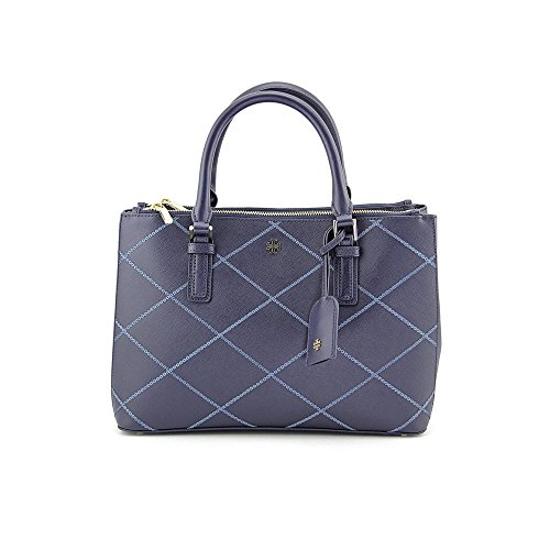 TORY BURCH Robinson Stitched Mini Double-Zip Tote Bag Tory Navy Comet