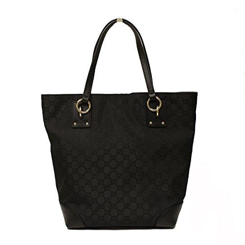 Gucci Medium Black Nylon and Leather Tote Bag 353706