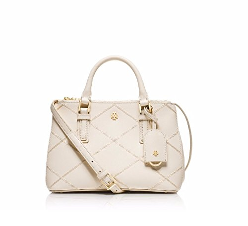 TORY BURCH Robinson Stitched Micro Double-Zip Tote Bag New Ivory