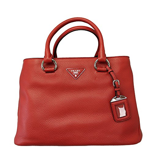 Prada Women's Red Soft Leather Tote Bag W/strap Bn2852