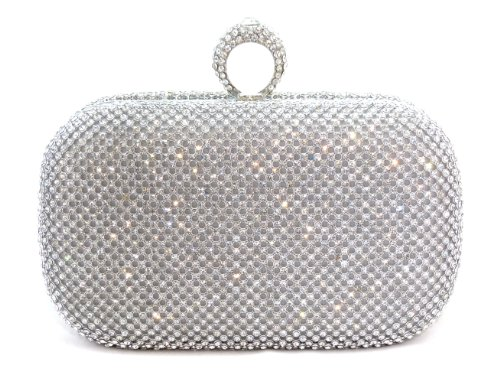 Ring Crystal Pave Evening Bag Hard Case Clutch Handbag with Detachable Chains