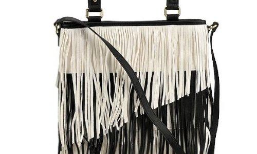 Steve Madden Bfringer Black Whtie Zip Zag Faux Leather Fringe Tote Shoulder Bag