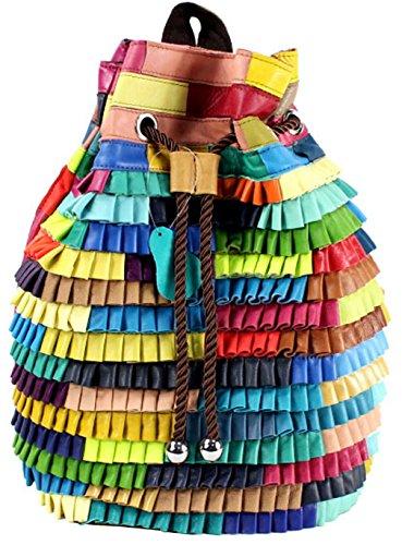 Heshe® New Women Fashion Genuine Leather Retro Multi-color Backpack Schoolbag Messenger Purse College Bag, Picnic Travel Bag for Ladies