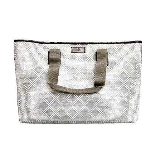 Gucci White Guccissima Trim Straw Woven Diamante Tote Handbag 289626