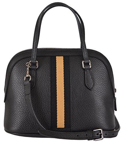 Gucci Women's Black Leather Web Stripe Convertible Mini Dome Purse