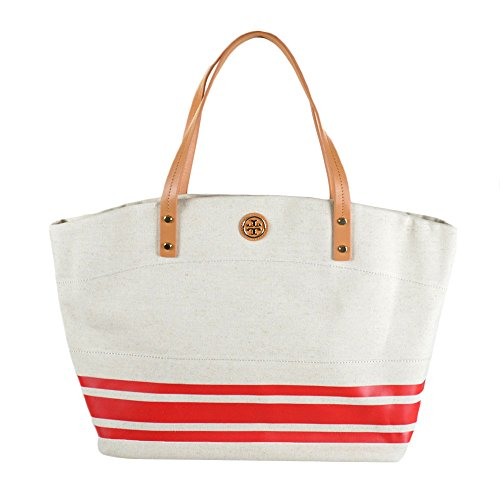 Tory Burch Theresa East West Canvas Tote in Lobster Red