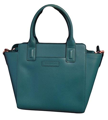 Gorgeous Vera Bradley Faux Leather Teal Blue Satchel Handbag Purse
