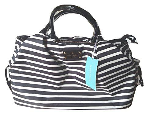 kate spade new york Stevie Diaper Bag in Black/Cream Stripe