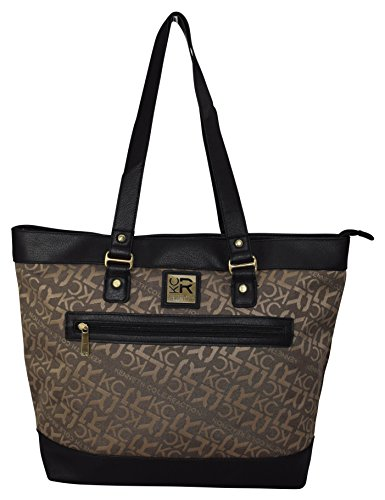 """Kenneth Cole Reaction """"The Copy That"""" Women's Business Top Zipper Padded Computer Tote for Computer Up To 16″ -Tan"""