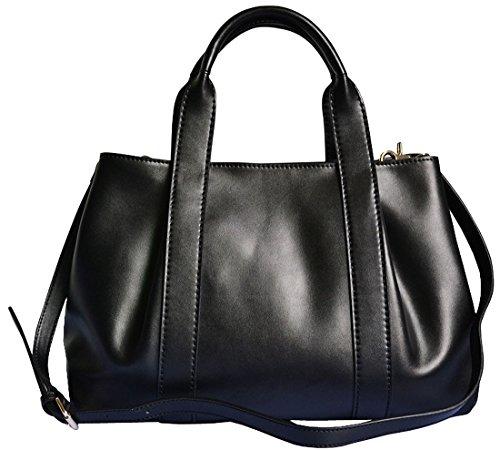 Heshe® Women's New Fashion Genuine Leather Tote Handbag Shoulder Bag Cross Body Bag Handbag Top Handle Handbag Pouch Purse Hobo Sling Hang Bag for Ladies