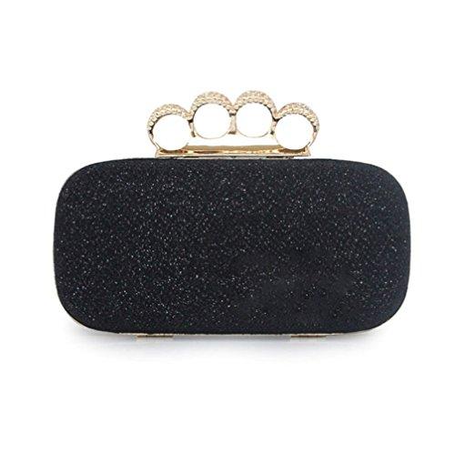 Abless Womens Sequin Rhinestone Knuckle Ring Clutch Handbag Chain Evening Bag Purse – Black
