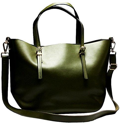 Heshe® Women's New Fashion Genuine Leather Tote Handbag Shoulder Bag Sling Bag Simple Travel for Ladies