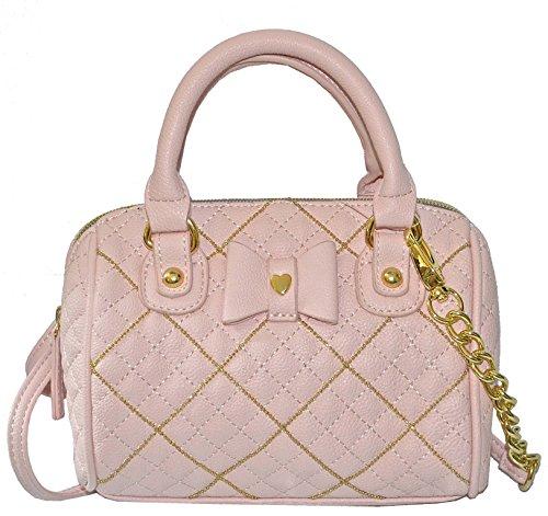New Betsey Johnson Purse Cross Body Mini Barrel Satchel Bag Blush Pink Shot Beads