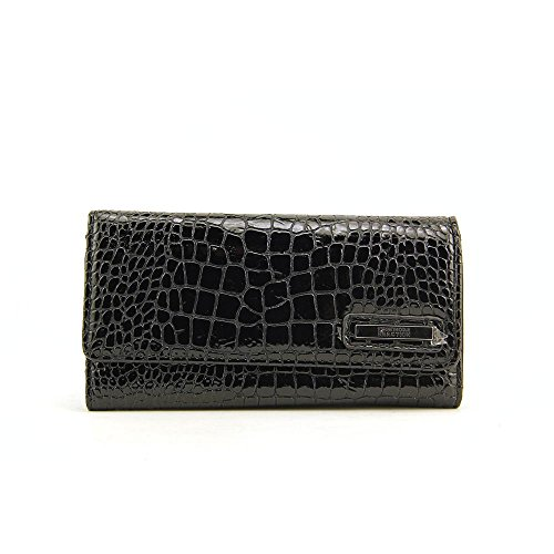 Kenneth Cole Reaction Womens Patent Croco Clutch Wallet Trifold Expandable Style 856 MSRP $50