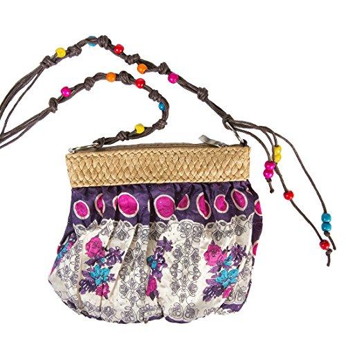 Tosca Small Print Handbag Beaded Crossbody Strap Purple