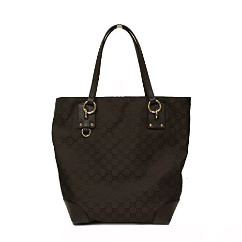 Gucci Medium Brown Nylon and Leather Tote Bag 353706