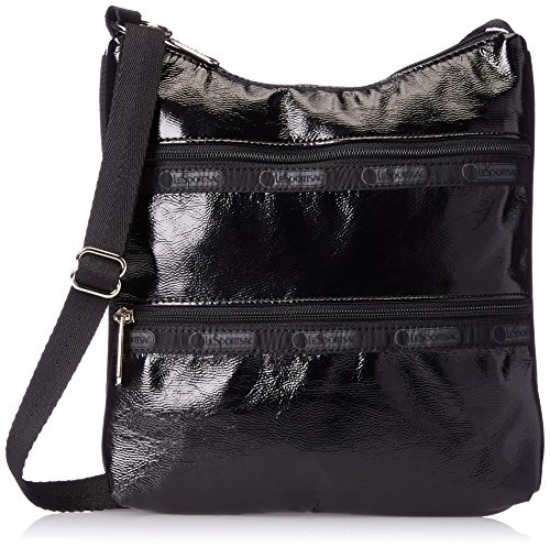 LeSportsac Kylie Cross Body, Black Crinkle Patent, One Size