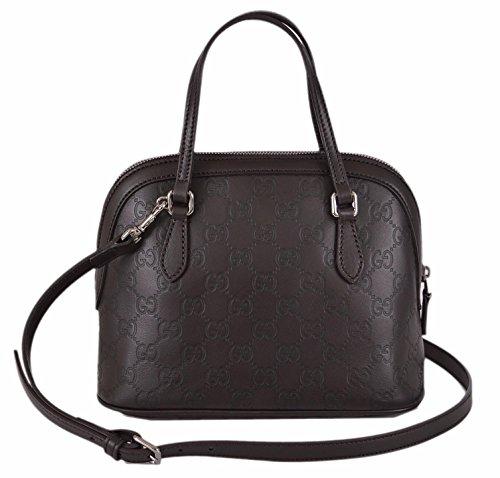 Gucci Women's GG Guccissima Dark Brown Leather Convertible Mini Dome Purse